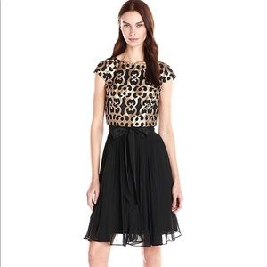 NWT Adrianna Papell leather cutout pleated dress